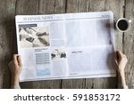 woman reading newspaper on... | Shutterstock . vector #591853172