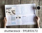 woman reading newspaper on... | Shutterstock . vector #591853172