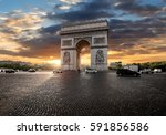 triumphal arch and clouds at... | Shutterstock . vector #591856586