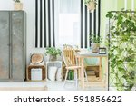 room with striped window... | Shutterstock . vector #591856622