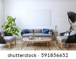 white canvas on the wall in the ... | Shutterstock . vector #591856652