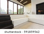 fancy living room with stairs ... | Shutterstock . vector #591859562