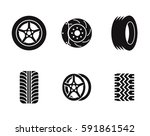 tire icons set. black on a... | Shutterstock .eps vector #591861542