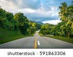 beautiful road cutting through... | Shutterstock . vector #591863306