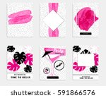 pink summer party promo banner... | Shutterstock .eps vector #591866576