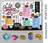 coffee shop menu template  cafe ... | Shutterstock .eps vector #591871352