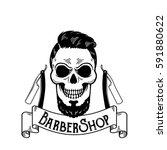 vector barbershop emblem ... | Shutterstock .eps vector #591880622