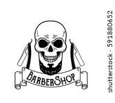 vector barbershop emblem ... | Shutterstock .eps vector #591880652