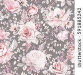 seamless pattern with pink... | Shutterstock . vector #591885242