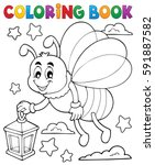 coloring book firefly with... | Shutterstock .eps vector #591887582