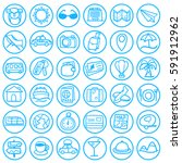 blue doodle travel icons... | Shutterstock .eps vector #591912962