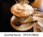 closeup of cappuccino  italian... | Shutterstock . vector #591913802