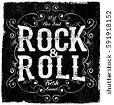rock poster monochrome hipster... | Shutterstock .eps vector #591918152