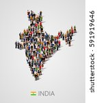 large group of people in india... | Shutterstock .eps vector #591919646