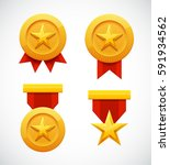 golden star medal award with...   Shutterstock . vector #591934562