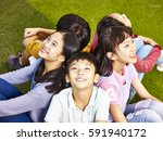 group of asian elementary... | Shutterstock . vector #591940172