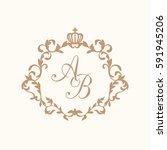elegant floral monogram design... | Shutterstock . vector #591945206