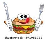 hungry cartoon hamburger... | Shutterstock .eps vector #591958736
