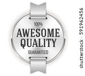 white awesome quality badge  ... | Shutterstock .eps vector #591962456