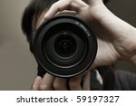 men's hands held camera closeup | Shutterstock . vector #59197327