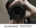 men's hands held camera closeup | Shutterstock . vector #59197327