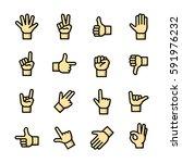 line art gestures icons set ...