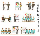 managers and office workers on... | Shutterstock .eps vector #591978386