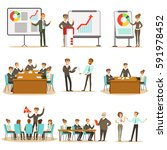 managers and office workers on... | Shutterstock .eps vector #591978452