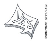 word yes  hand drawn comic... | Shutterstock .eps vector #591978512
