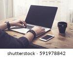 laptop user | Shutterstock . vector #591978842
