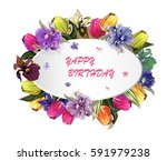 round greeting wight frame with ... | Shutterstock .eps vector #591979238