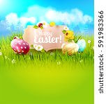 cute easter background with... | Shutterstock .eps vector #591983366