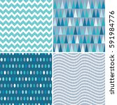 set of seamless geometric... | Shutterstock .eps vector #591984776
