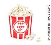 bucket full of popcorn | Shutterstock .eps vector #591986342