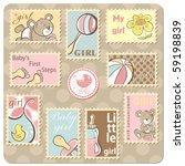 baby girl announcement card  ... | Shutterstock .eps vector #59198839