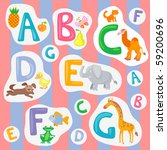 alphabet with pictures | Shutterstock .eps vector #59200696