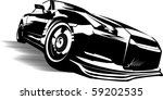 black sports car ready to start ...