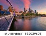 city of melbourne. cityscape...   Shutterstock . vector #592029605