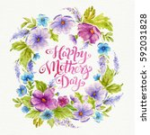 greeting card happy mother's... | Shutterstock . vector #592031828