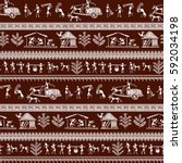 warli painting seamless pattern ... | Shutterstock .eps vector #592034198