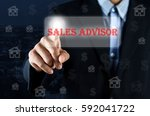 business man pointing hand on... | Shutterstock . vector #592041722