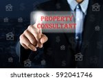 business man pointing hand on... | Shutterstock . vector #592041746