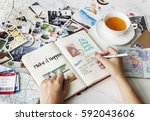 planning traveling trip notes... | Shutterstock . vector #592043606