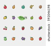 set of doodle fruit icons... | Shutterstock .eps vector #592046198