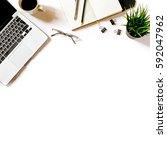 modern minimalistic work place. ... | Shutterstock . vector #592047962