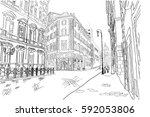 black and white sketch of the... | Shutterstock .eps vector #592053806