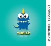 vector cartoon funny blue... | Shutterstock .eps vector #592060775