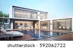 3d rendering modern house pool...