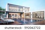 3d rendering modern house pool... | Shutterstock . vector #592062722