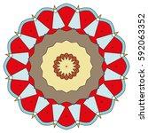vector mandala  round geometric ... | Shutterstock .eps vector #592063352